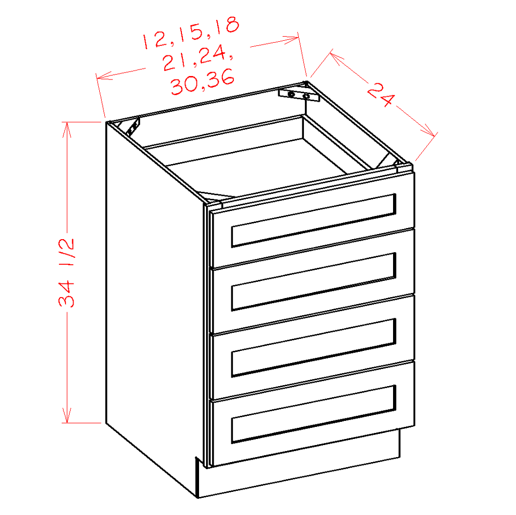 Four Drawer Base - Cabinets on Demand