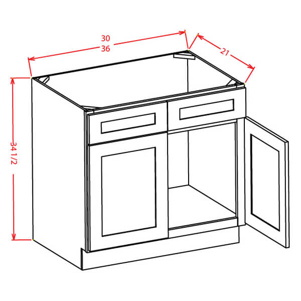 Vanity Sink Bases-Double Door Double Drawer Front - Cabinets on Demand