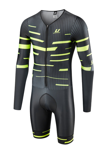 Blk / Fluo PRO Aero (Long Thigh) Speedsuit + aero number pocket (UCI Legal)