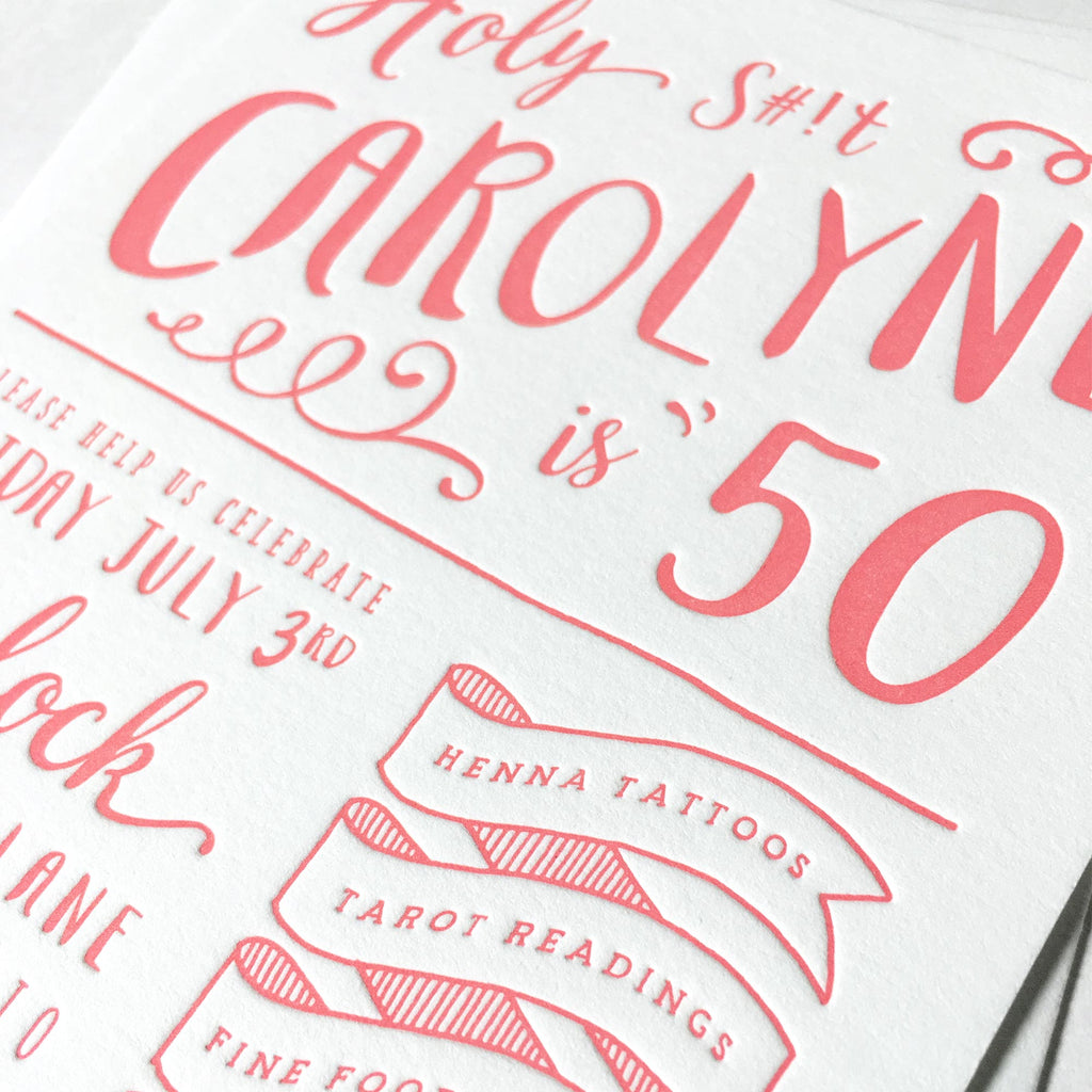 Custom Letterpress Birthday Invite Close Up