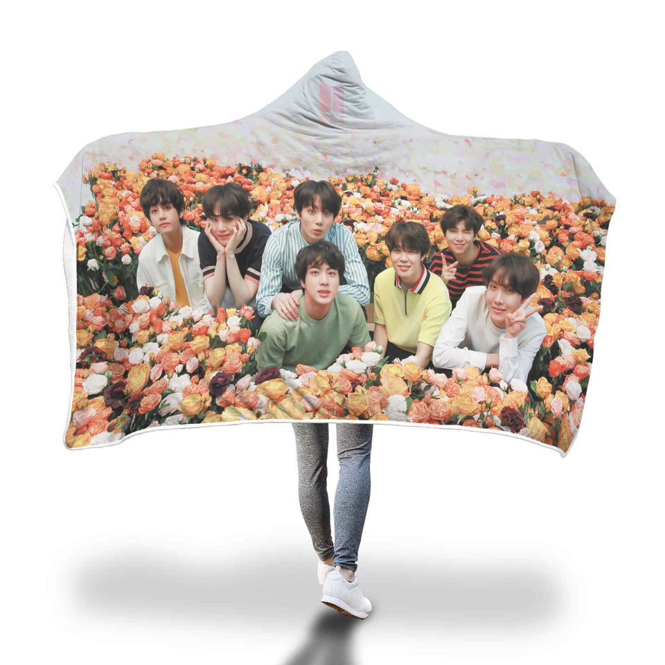 BTS Rose Field Hooded Blanket