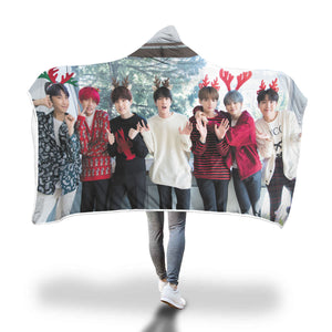 BTS Christmas Hooded Blanket