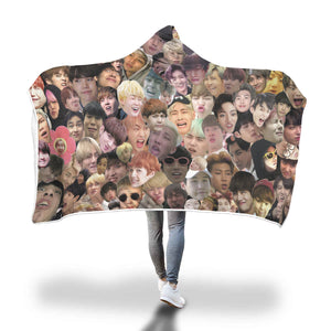 BTS Meme Faces Hooded Blanket