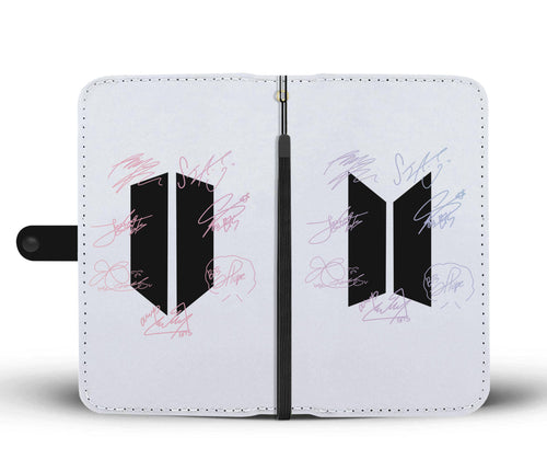 BTS Signature Wallet Phone Case White