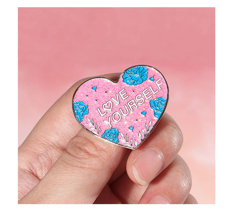 Love Yourself Heart Brooch