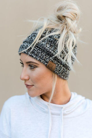 Messy Bun Knitted Beanie - Marley Black