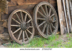 An ancient wooden wheel with a steel outer part that serves as a tyre. Image source; www.shutterstock.com