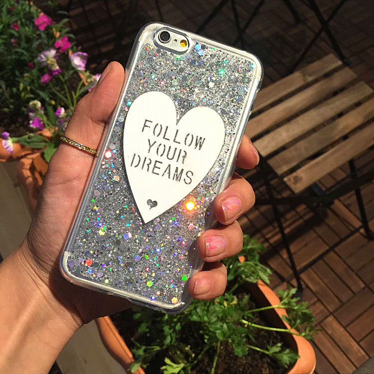 Follow Your Dreams Glitter Case