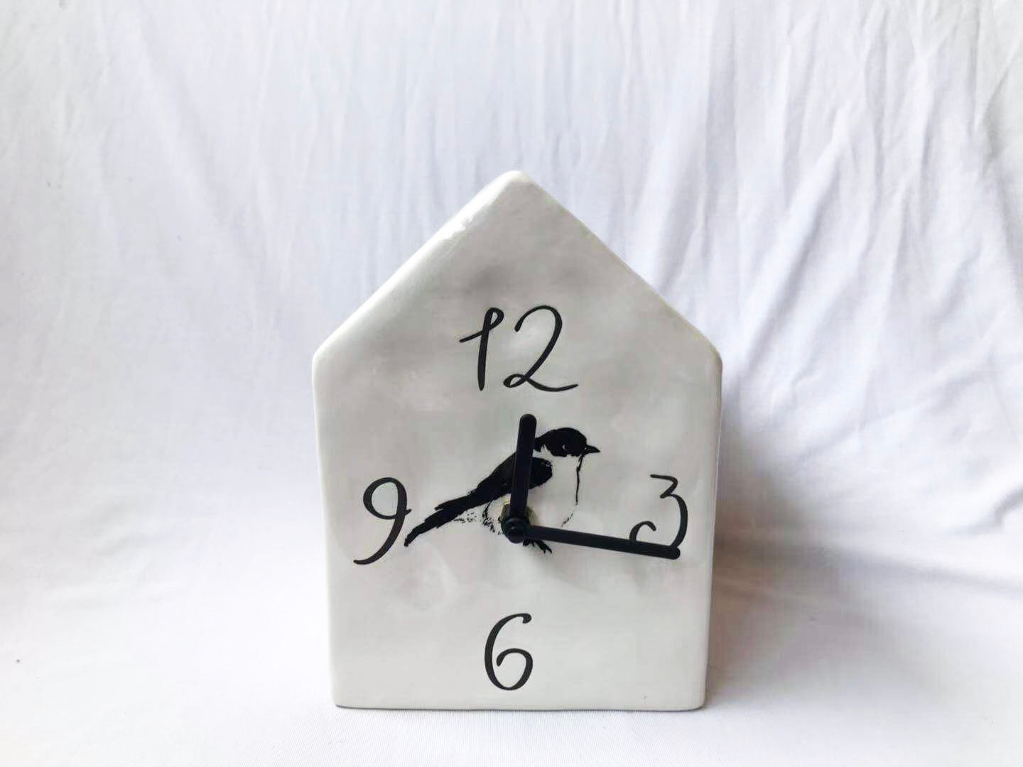 Ceramic Birdhouse Clock By Kathy Diep