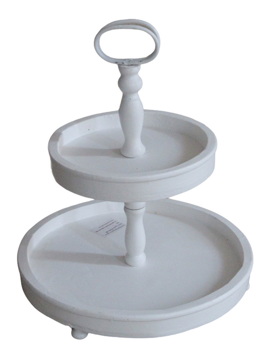White Wooden 2 Tier Tray