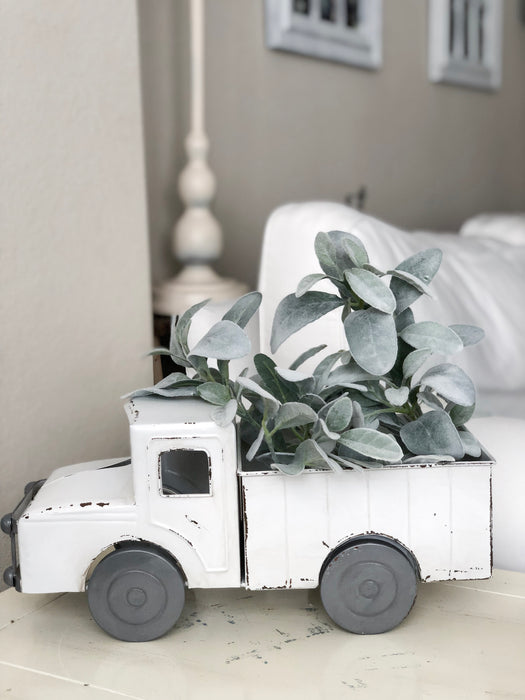 Vintage Metal White Truck Planter