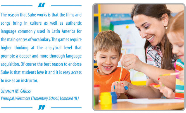 Learn ESL and Spanish with music and games for an elementary curriculum with Sube teacher testimonial