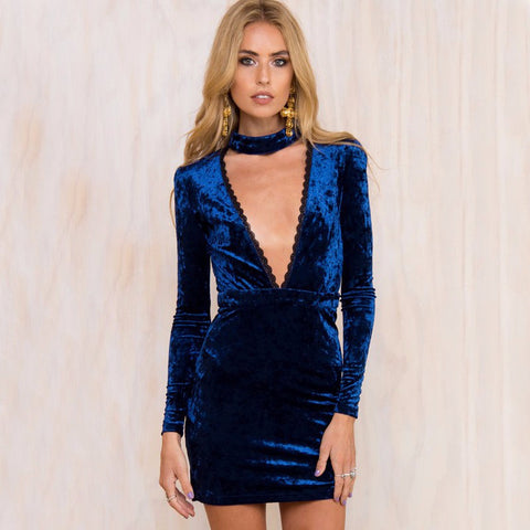 Deep V-Neck Velvet Dress