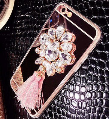 Diamond Tassels Mirror Phone Case For iPhone 5 5S 6 6S 7 Plus