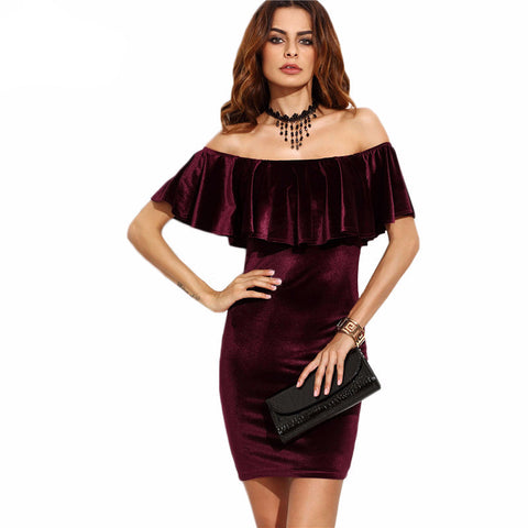 Ruffle Off The Shoulder Velvet Dress