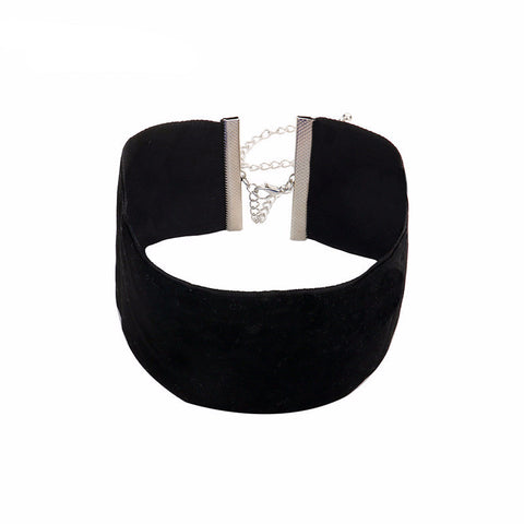 Wide Black Velvet Choker Necklace