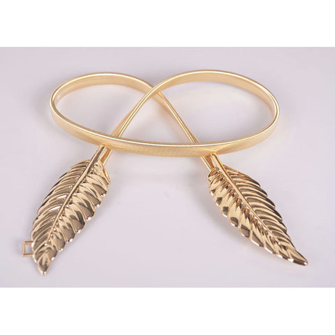 Metal Leaves Elastic Waist Belt
