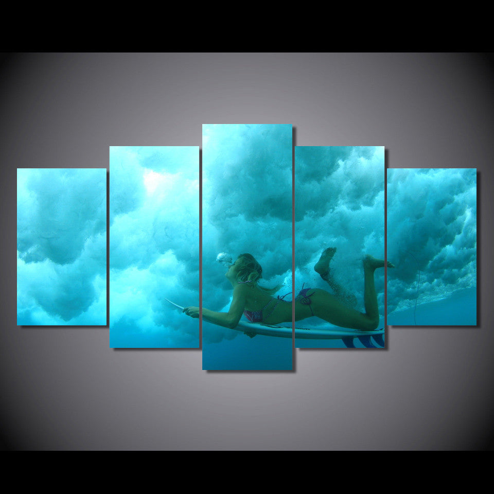 Under The Wave Surfing Girl Canvas