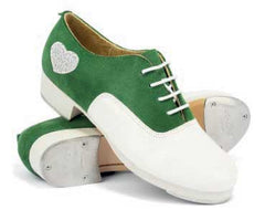 Suede / Patent Leather in Green/White