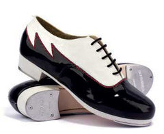 Leather/Patent Leather in White/Black with 3 Red Seams