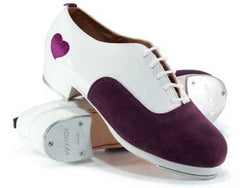 Suede/Patent Leather in White/Purple