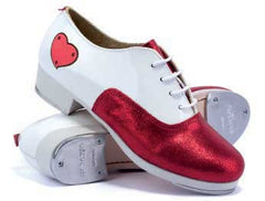 Patent Leather/Suede in White/Sparkling Red