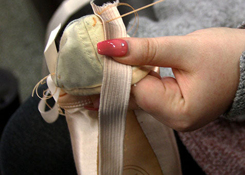 Sewing Elastic on to Pointe Shoes