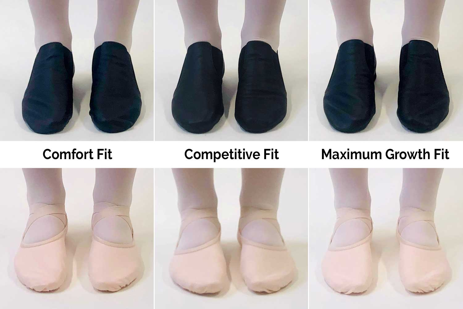 Photos of jazz and ballet shoes in Comfort Fit, Competitive Fit and Maximum Growth Fit