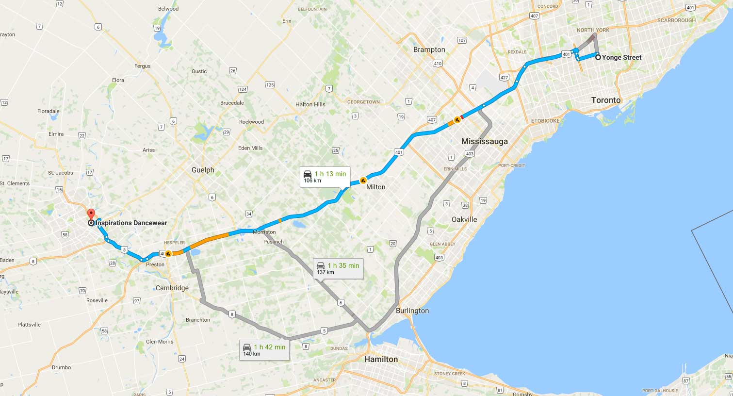 map of driving directions from toronto to inspirations dancewear in kitchener