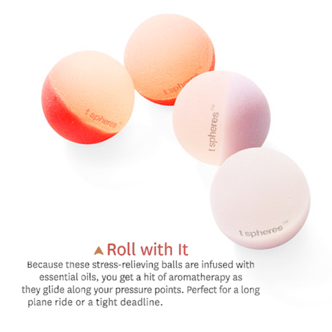 Roll With It: Because these stress-relieving balls are infused with essential oils, you get a hit of aromatherapy as they glide along your pressure points. Perfect for a long plane ride or a tight deadline.