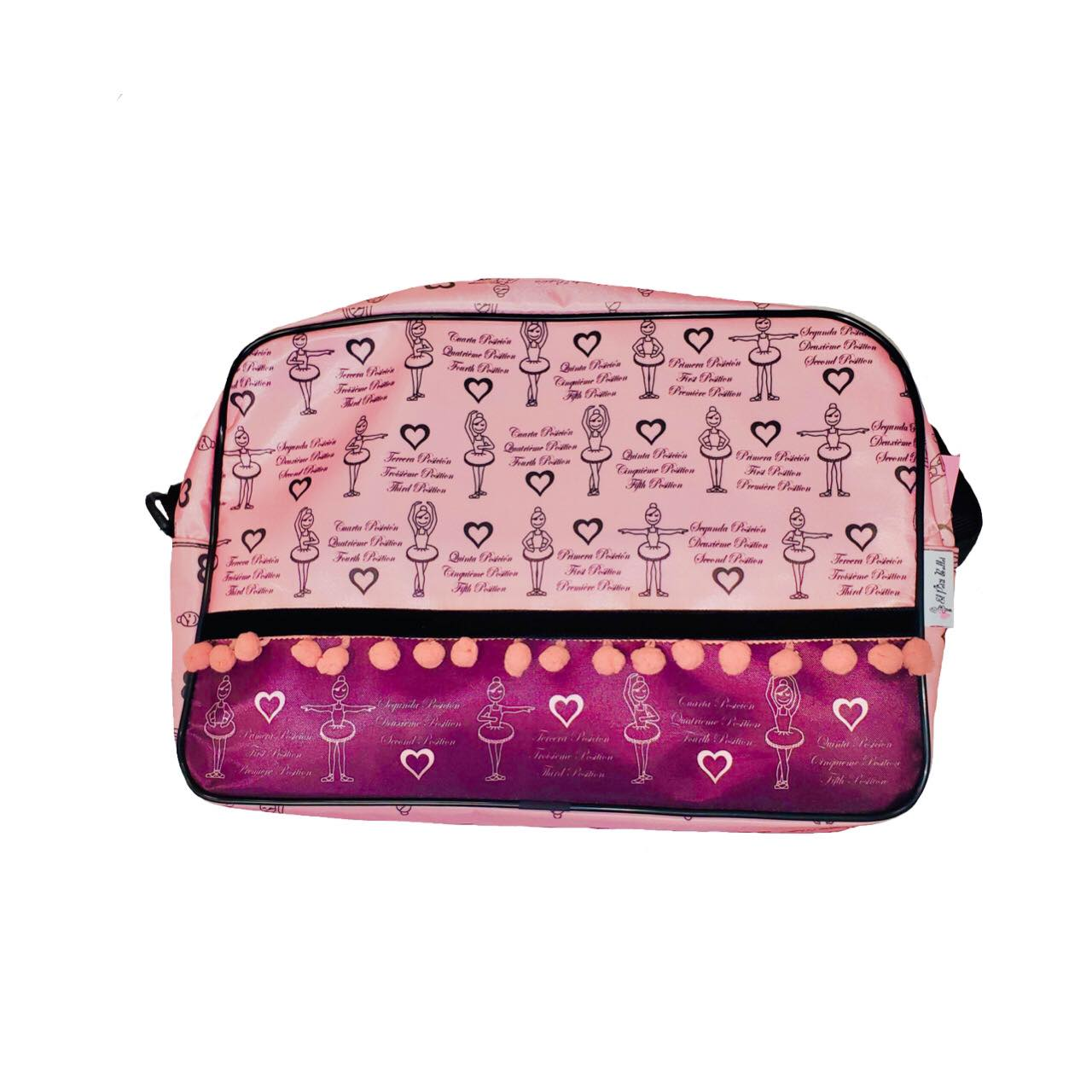 Printed Pom Pom Trim Duffle Bag - Pink and Black