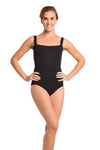 AinslieWear leotard with square neck in black - front