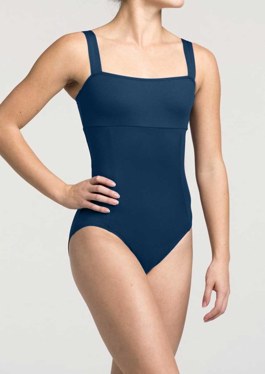 AinslieWear leotard with square neck in teal