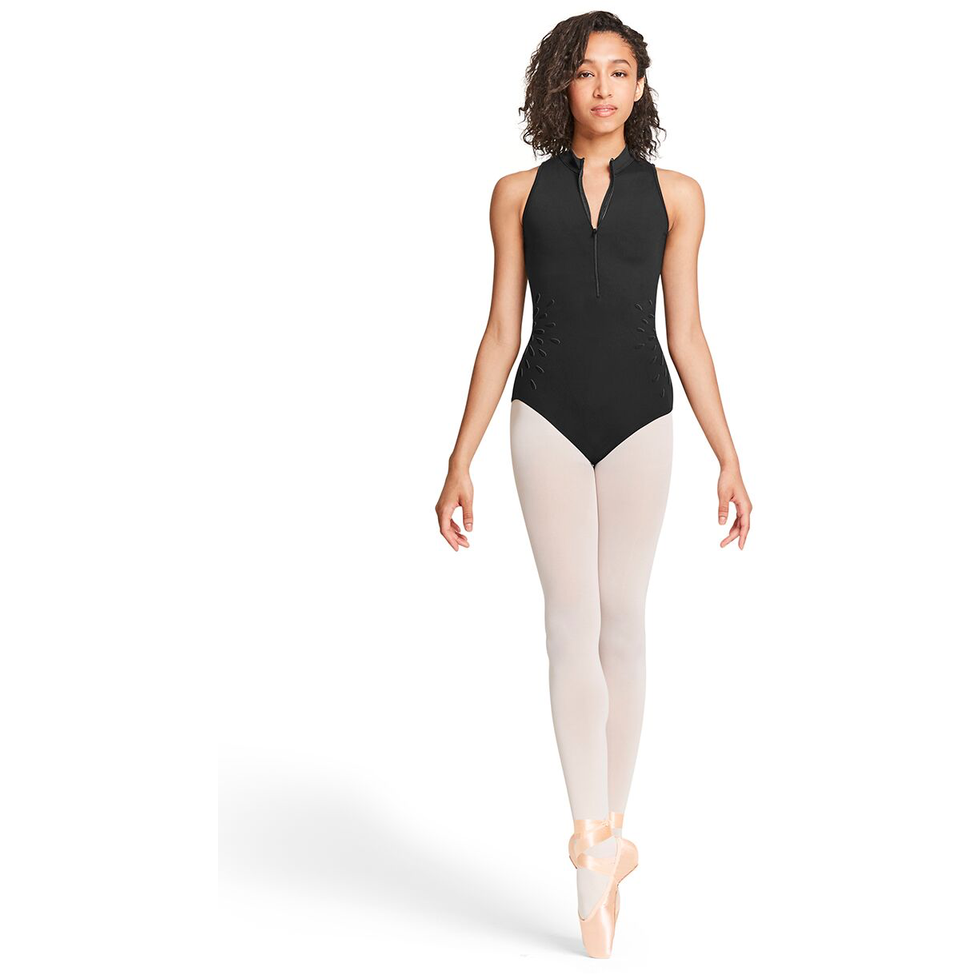Mesh Back Zipper Front Tank Leotard - Adult