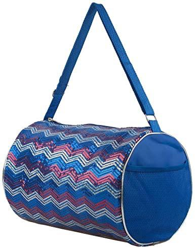 Blue Chevron Sequin Duffle Bag