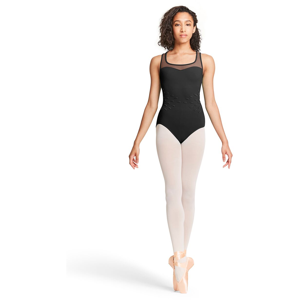 Sweetheart Neckline Floral Applique Leotard - Adult