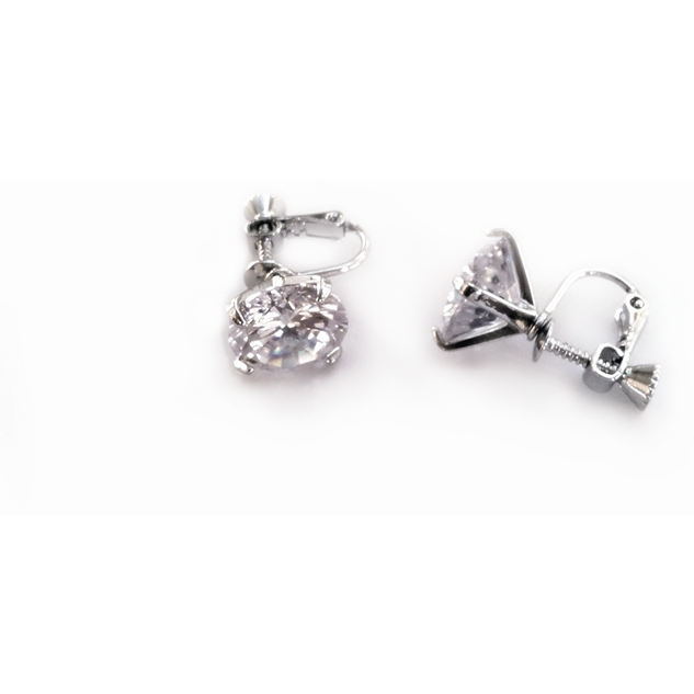12MM Clear Clip On Stud Earrings