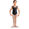 V Neck Floral Applique Mesh Cap Sleeve Leotard - Child