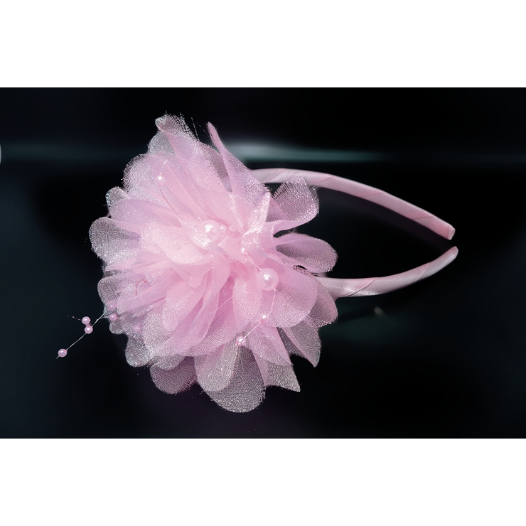Light Pink Tulle & Pearl Flower Headband