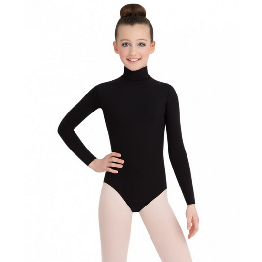 Turtleneck Long Sleeve Leotard with Snaps - Child