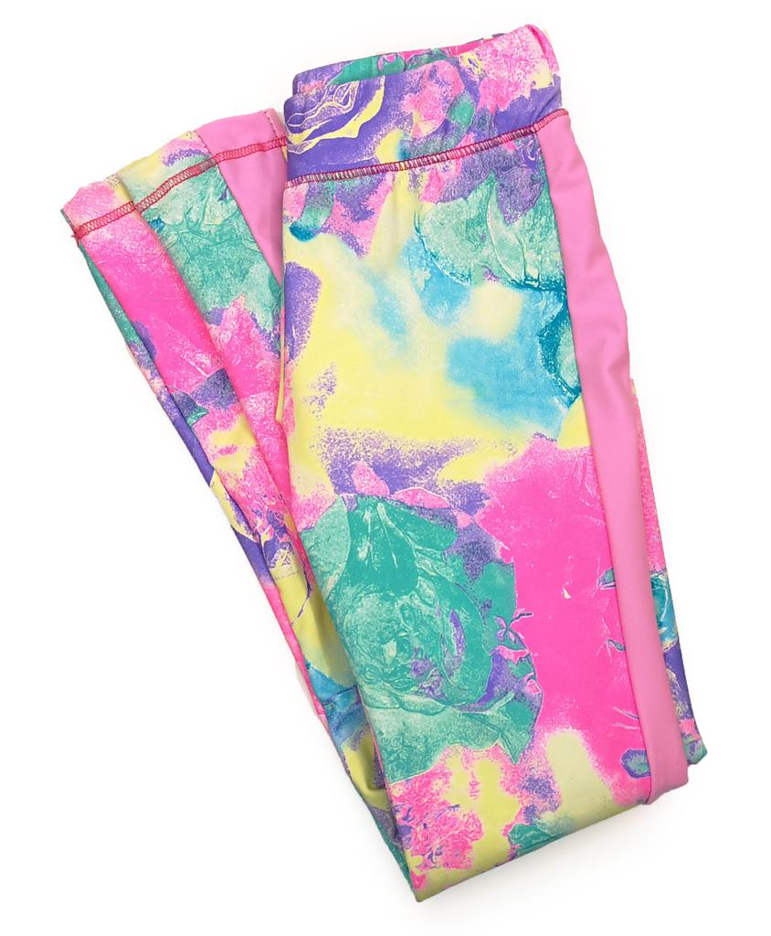 Rose Print Legging with Side Stripe - Child