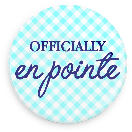 Offically En Pointe Button - Blue and White Gingham - Inspirations Dancewear