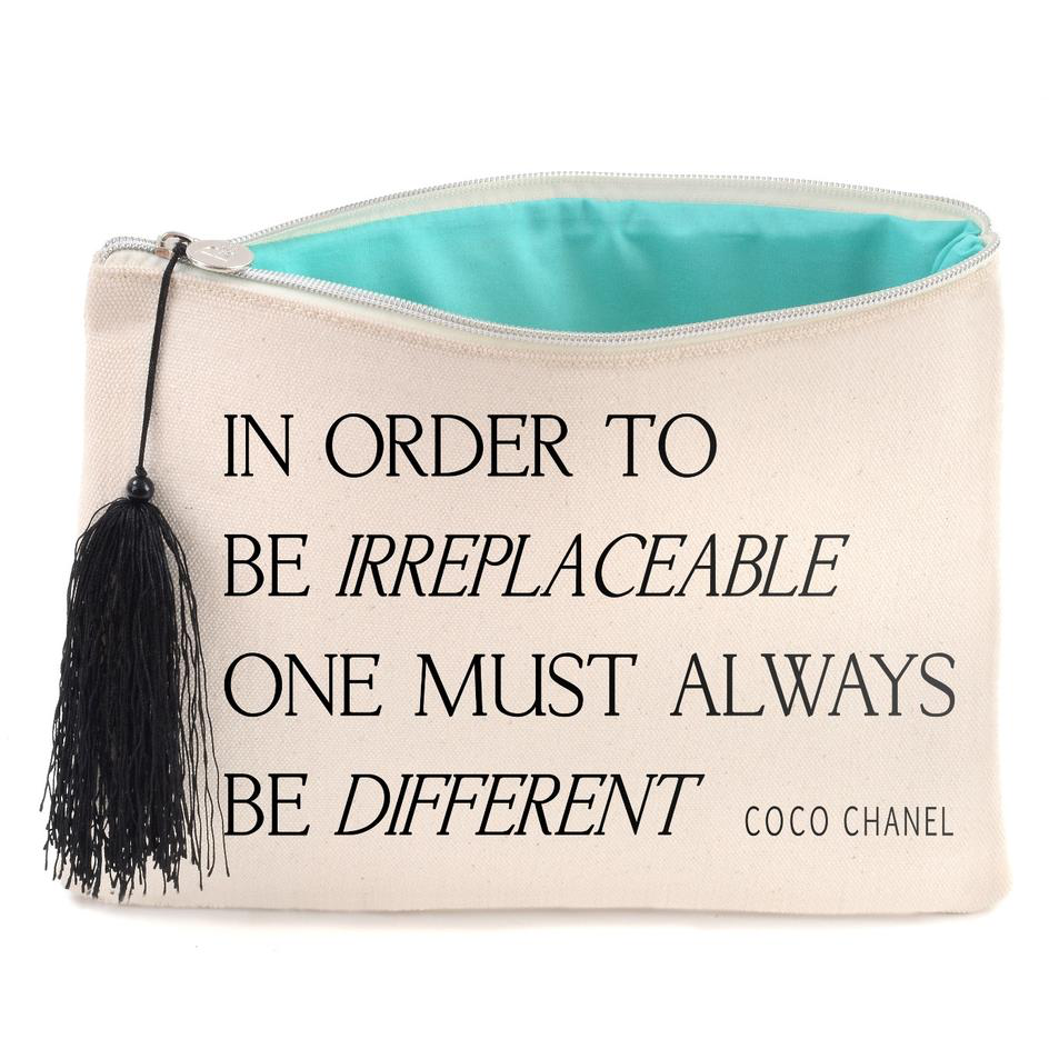 Coco Chanel Quote Canvas Cosmetic Bag