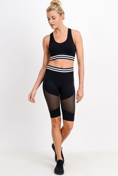 Highwaist Striped Band Seamless Perforated Bike Short - Adult