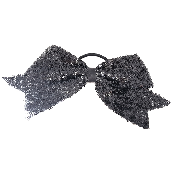 Sparkle Bow Hair Tie - Black