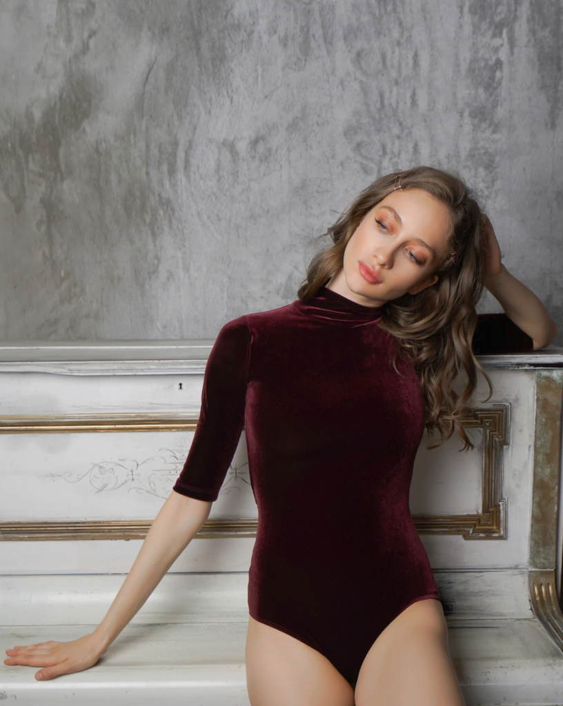 Molly Spiced Wine Velvet Leotard