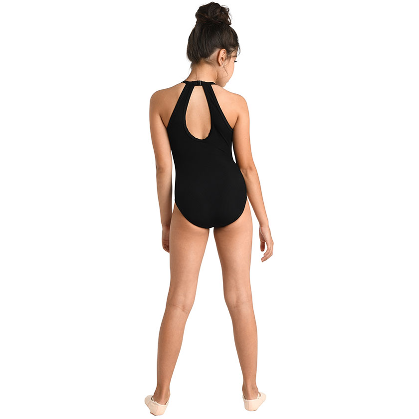 Ribbed Cutaway Halter Leotard - Child