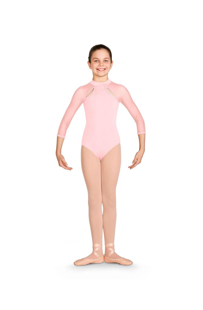 Kaylee 3/4 Sleeve Open Back Leotard - Child