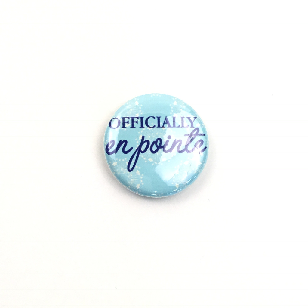 Offically En Pointe Button - Blue Floral