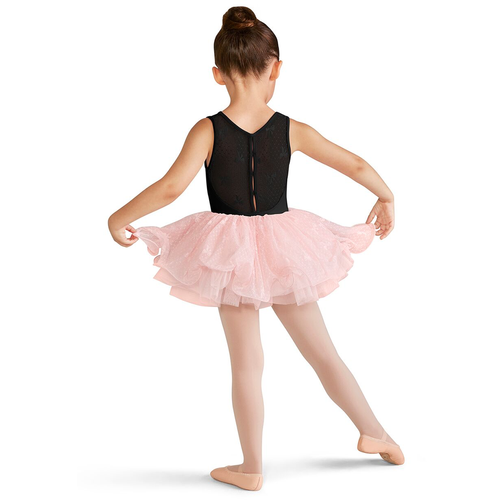 Keyhole Bow Mesh Back Tank Leotard - Child